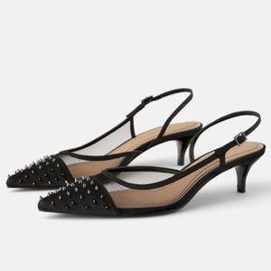 NWOB Zara Studded Mesh Slingback Heels